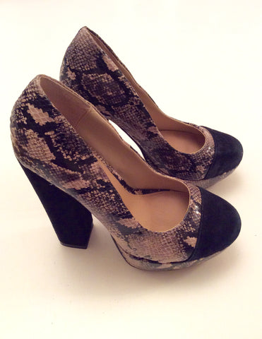 BRAND NEW FRENCH CONNECTION BEIGE & BLACK SNAKESKIN PLATFORM HEELS SIZE 3.5/36 - Whispers Dress Agency - Womens Heels - 3