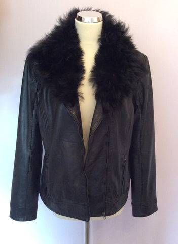 Brand New Ted Baker Black Leather Fur Collar Biker Jacket / Gilet Size 4 UK 12 - Whispers Dress Agency - Womens Coats & Jackets - 8