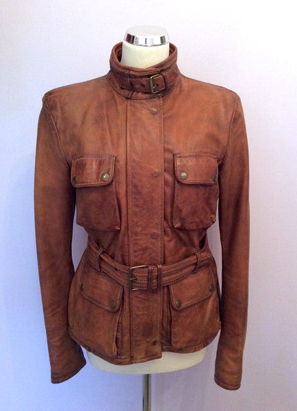 Belstaff Cognac / Antique Brown Leather 'Triumph' Jacket Size 12/14 - Whispers Dress Agency - Sold - 1