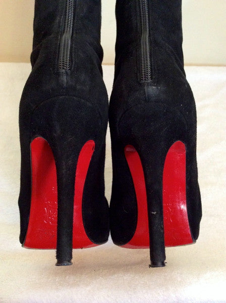 840f5720c Christian Louboutin Black Suede 'Pretty Woman' Knee High Boots Size 4. –  Whispers Dress Agency