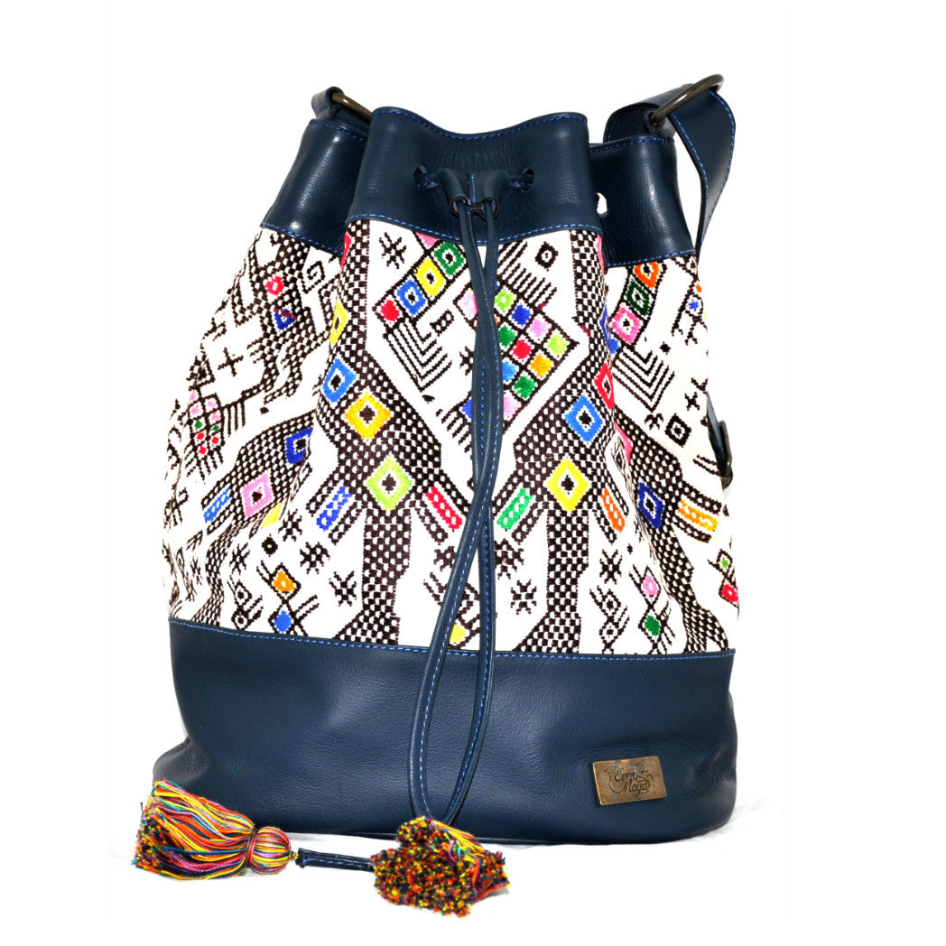 Huipil Bucket Bag - Blue Leather w/ One-of-a-kind Design