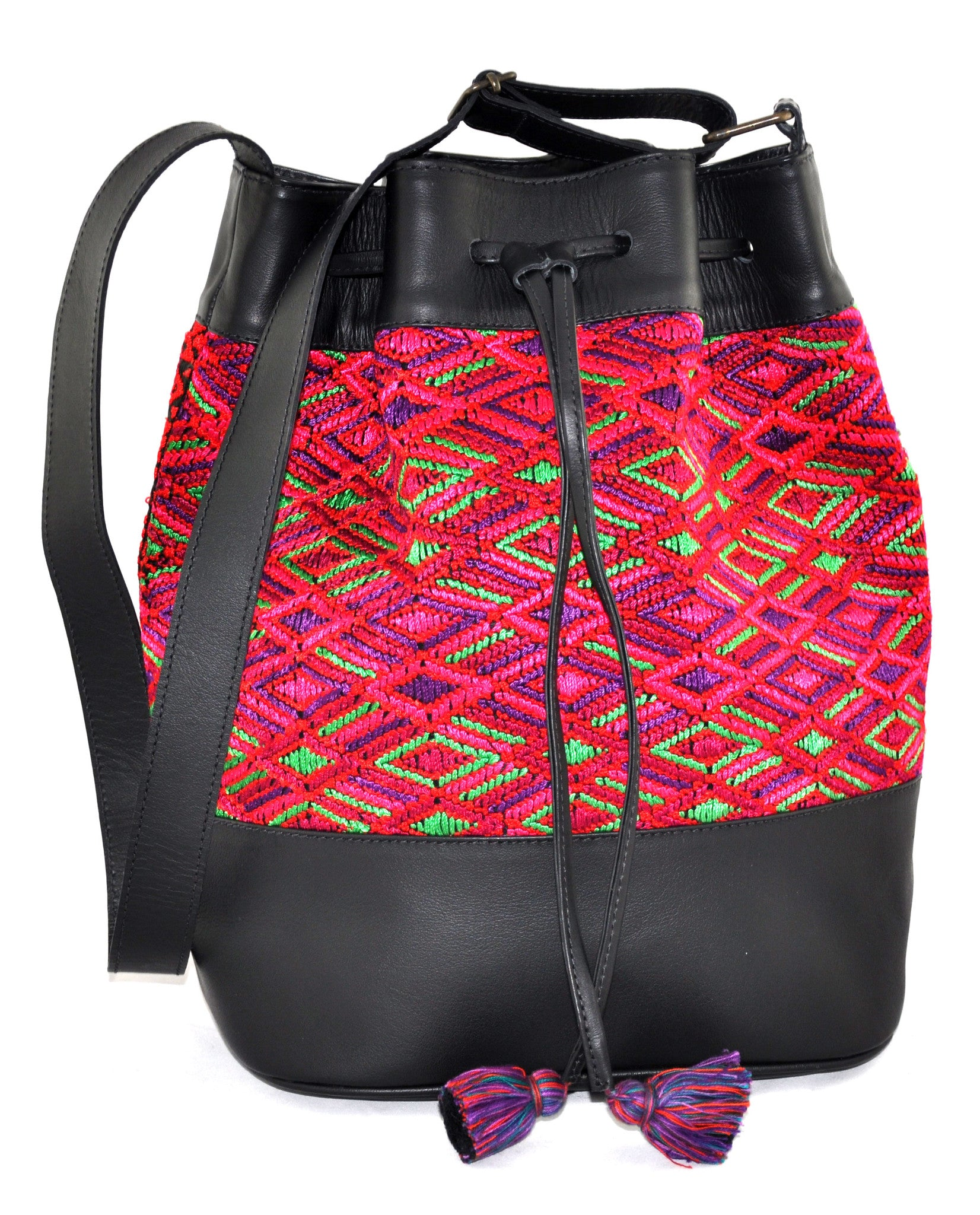 Huipil Bucket Bag - Red & Green Huipil on Black Leather