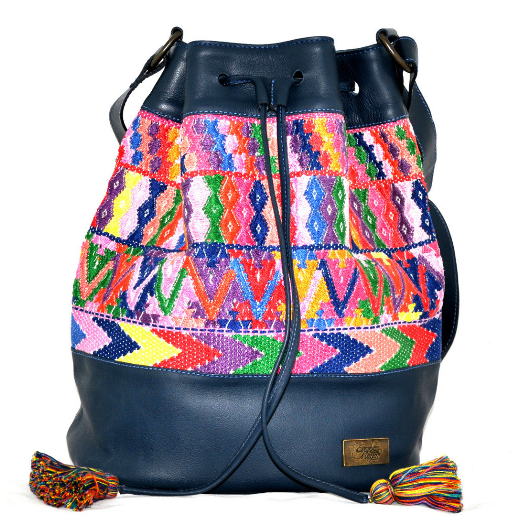 Huipil Bucket Bag - Blue Leather w/ Multicolored Design