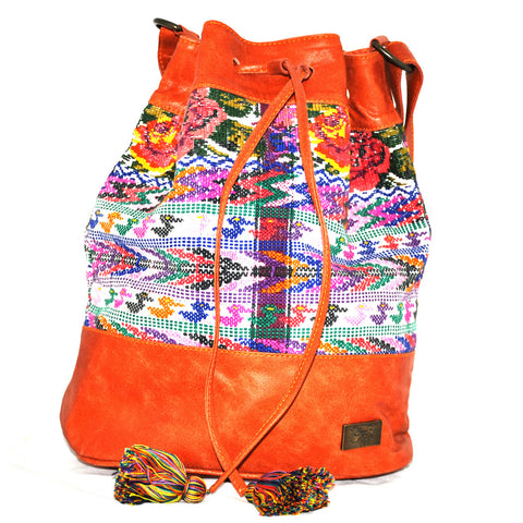 Huipil Bucket Bag - Tan Leather w/ Floral Design