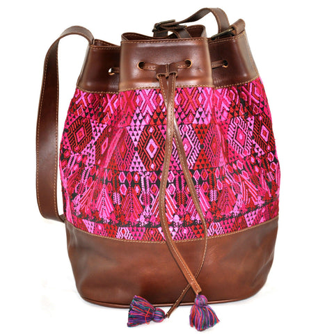 Huipil Bucket Bag - Pink & Red Huipil on Brown Leather