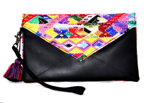 Huipil Envelope Clutch -Yellow, Pink, & Red Huipil on Black Leather