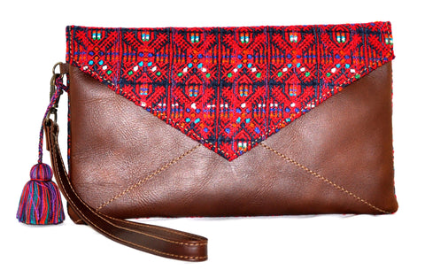 Huipil Envelope Clutch - Red Huipil on Brown Leather