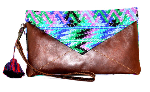 Huipil Envelope Clutch - Blue, Green, and Purple Huipil on Brown Leather