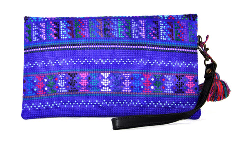 Huipil Envelope Clutch - Purple Huipil on Black Leather