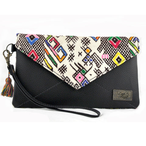 Huipil Envelope Clutch - Cream Huipil & Black Leather