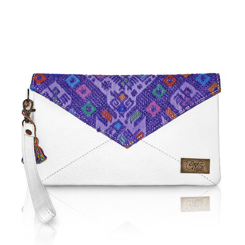 Huipil Envelope Clutch - Purple Huipil & White Leather