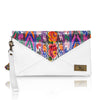 Huipil Envelope Clutch - Floral Huipil & White Leather