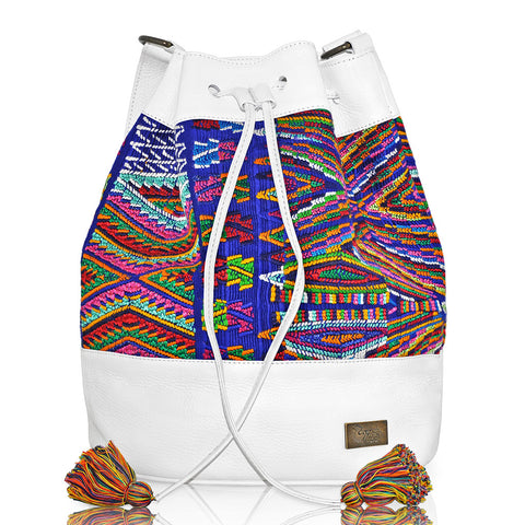 Huipil Bucket Bag w/ Multicolored Design
