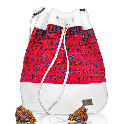 Huipil Bucket Bag - White Leather w/ Pink Huipil Fabric