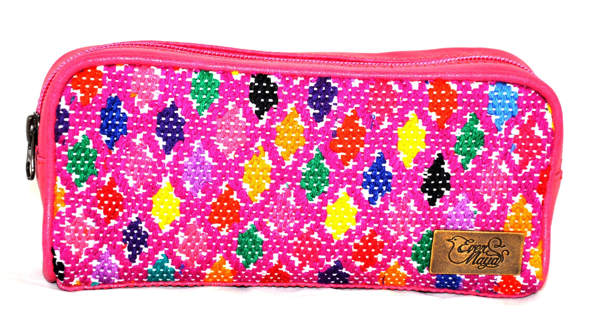 Pink Leather & Huipil Cosmetic Bag