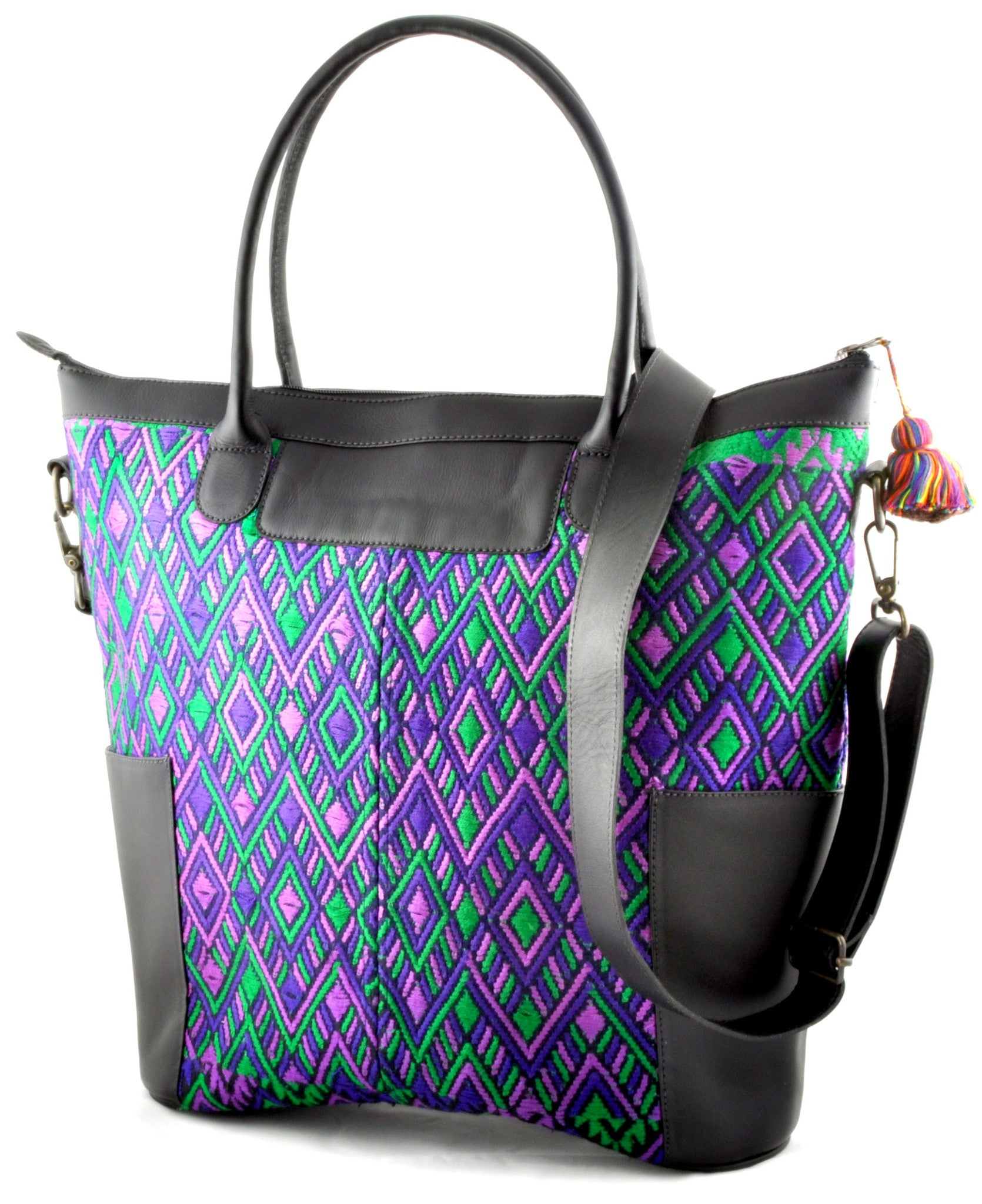 Huipil Weekender Tote - Purple Huipil with Black Leather