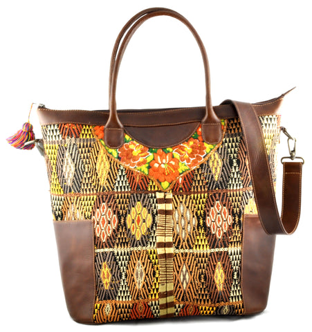Huipil Weekender Tote - Gold with Brown Leather