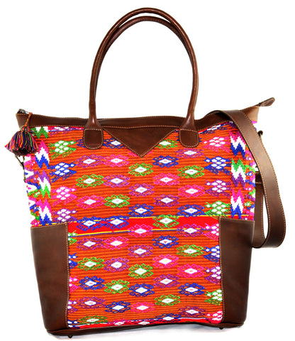 Huipil Weekender Tote - Red with Brown Leather