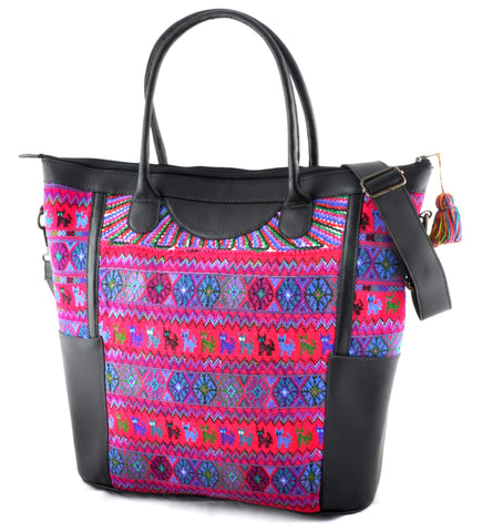 Huipil Weekender Tote - Pink and Purple Huipil with Black Leather