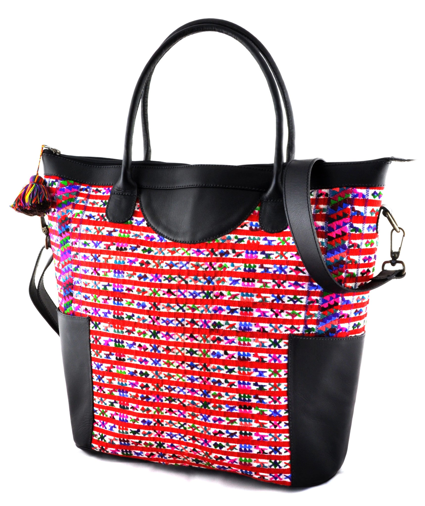 Huipil Weekender Tote - Pink Huipil with Black Leather