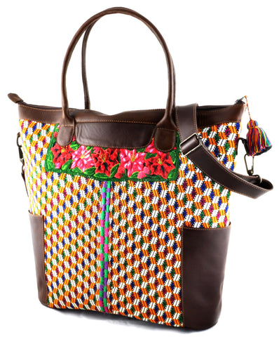 Huipil Weekender Tote - Yellow Huipil with Brown Leather