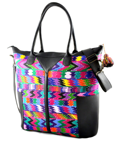 Huipil Weekender Tote - Multi-colored Huipil with Black Leather