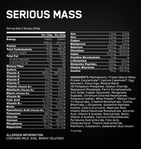 Optimum Nutrition Serious Mass Weight Gainer Protein (3 LB)