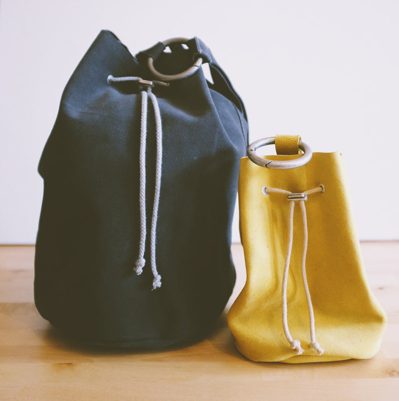 Ja, Wol - leather bucket project bag