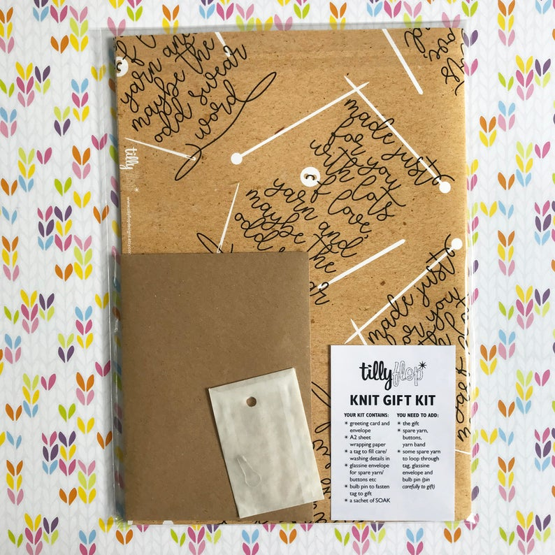 Tilly Flop - Knit gift kit - greeting card, wrapping paper, tag for handmade knit/crochet gift