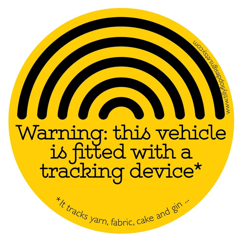 Tilly Flop - Bumper Sticker - warning, this vehicle is fitted with a tracking device...