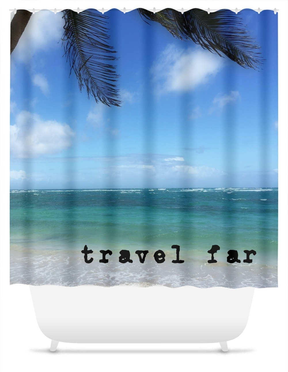 Travel Far St Lucia Shower Curtain FlyShop