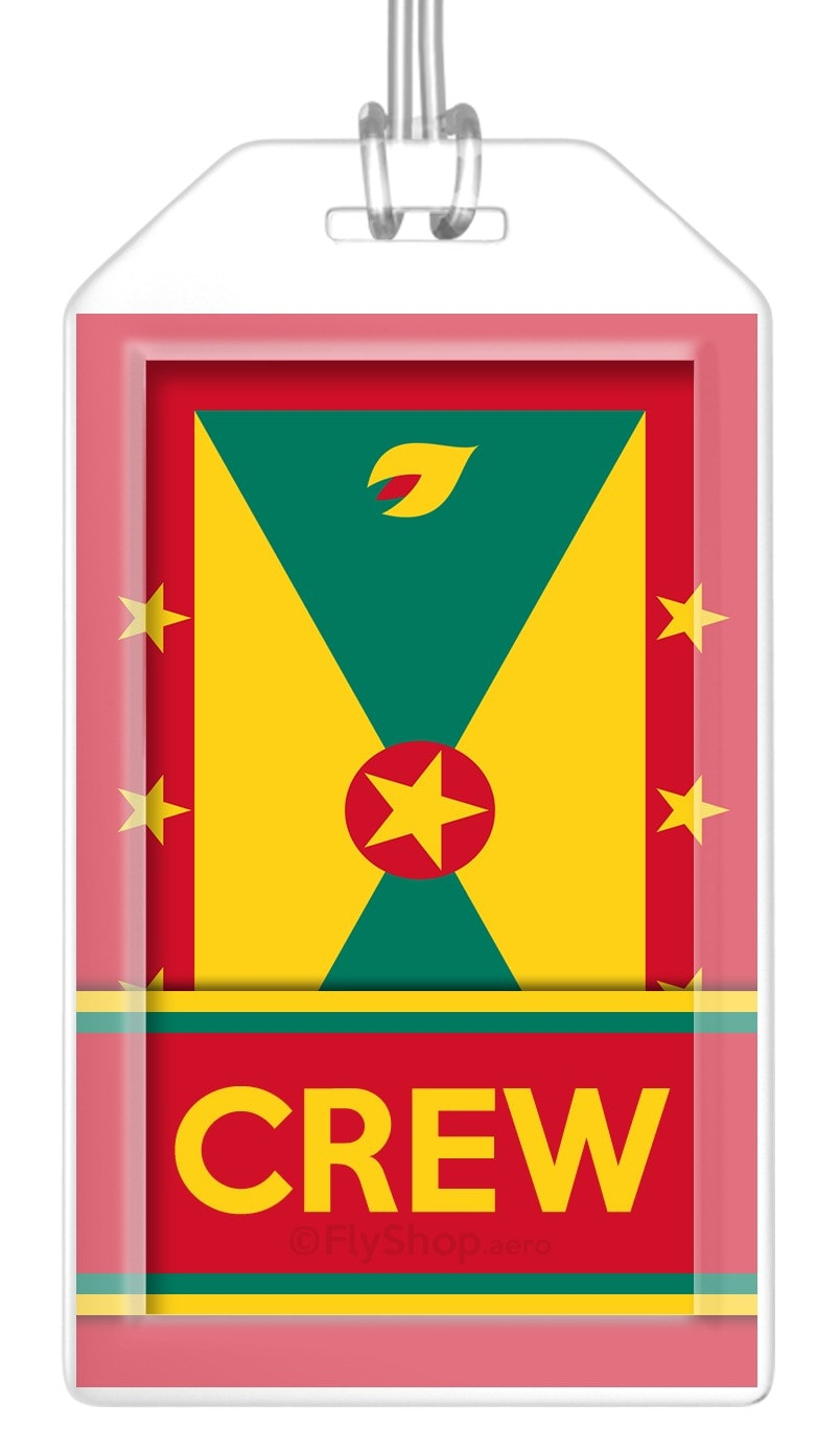 Grenada Flag Crew Bag Tag (Set of 2)