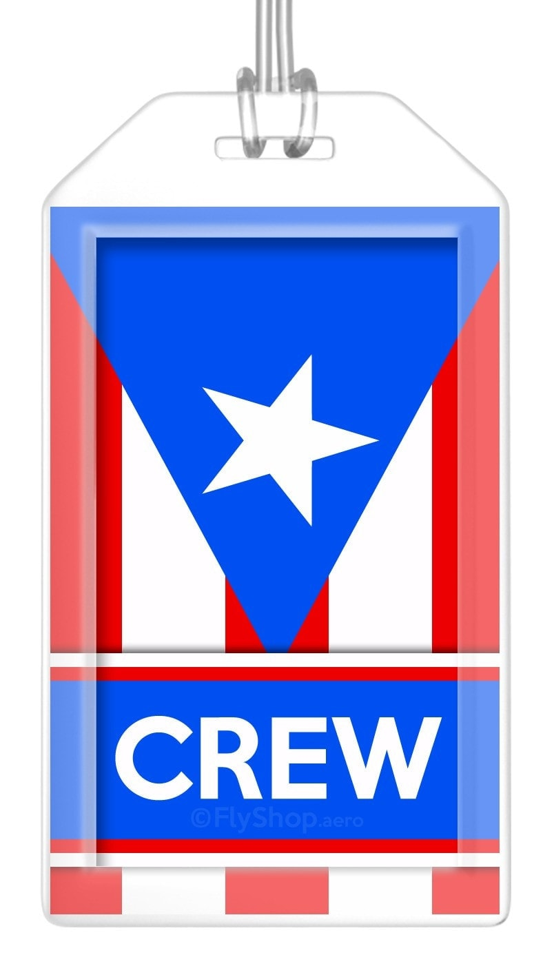 Puerto Rico Flag Crew Bag Tag (Set of 2)