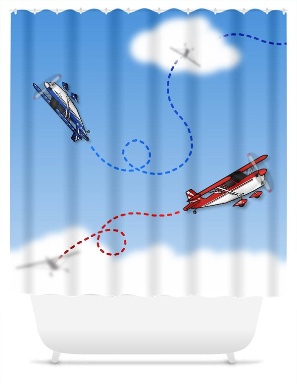 Cartoon Aerobatics Shower Curtain