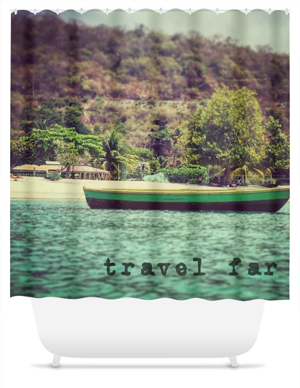 Travel Far Fishing Boat Shower Curtain