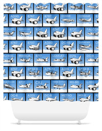 Pudgy Airplane Collage Shower Curtain