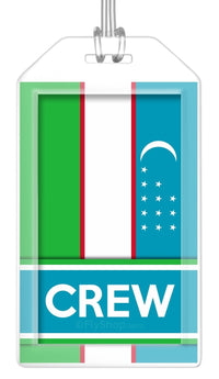Uzbekistan Flag Crew Bag Tag (Set of 2)