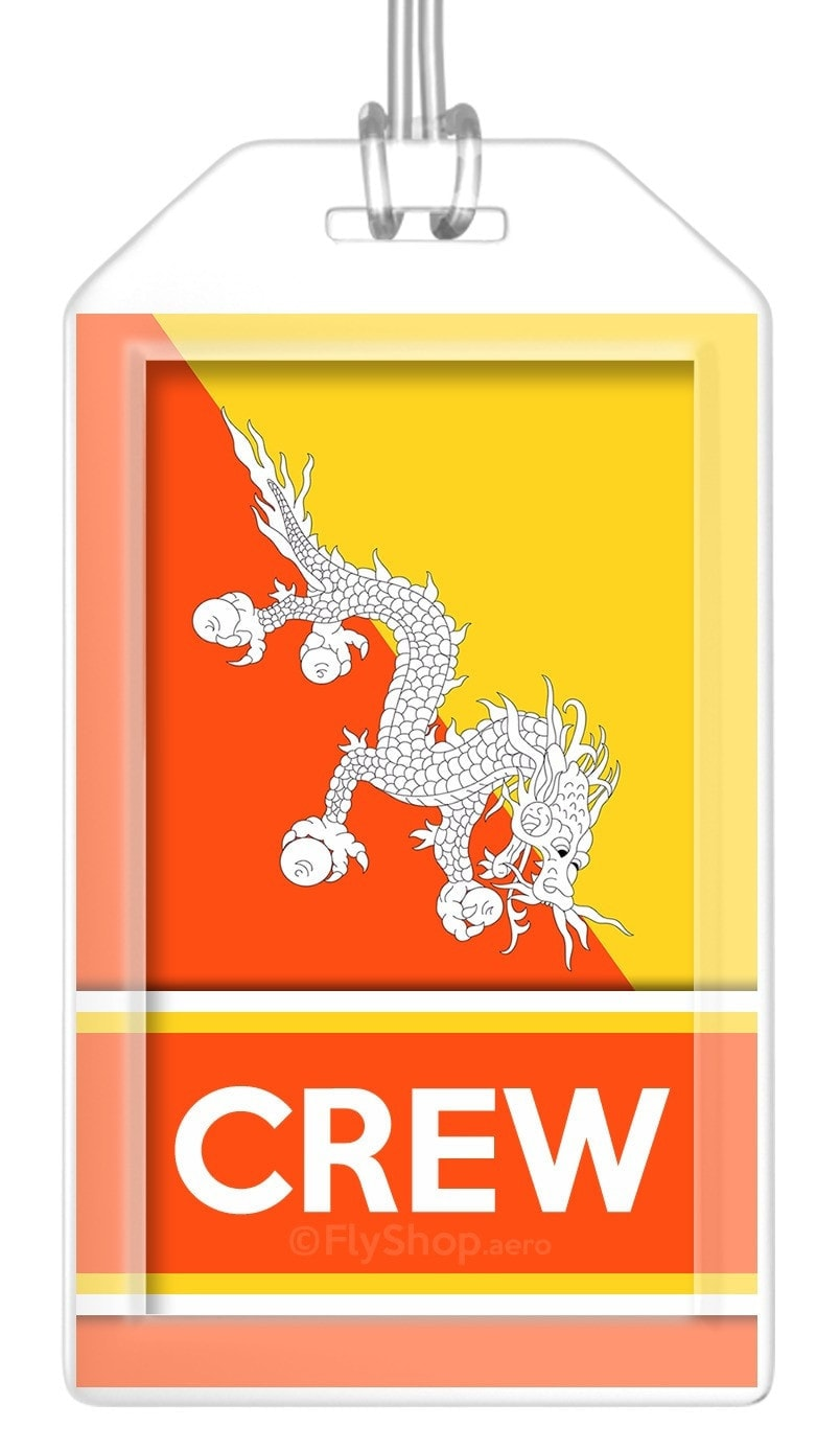 Bhutan Flag Crew Bag Tag (Set of 2)