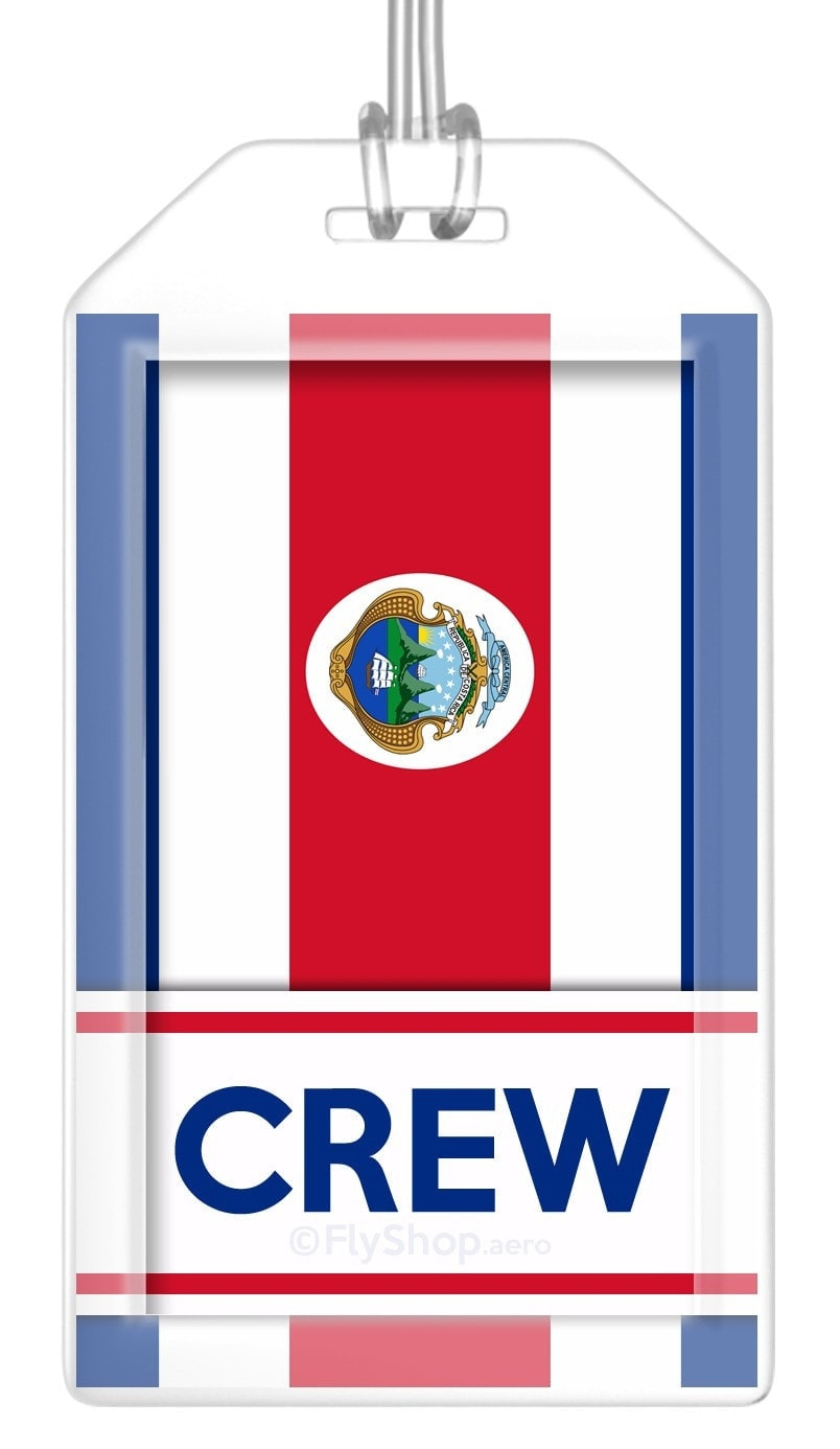 Costa Rica Flag Crew Bag Tag (Set of 2)