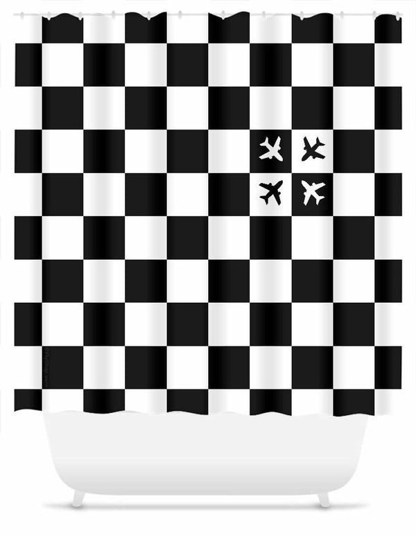 Checkered Flight Shower Curtain