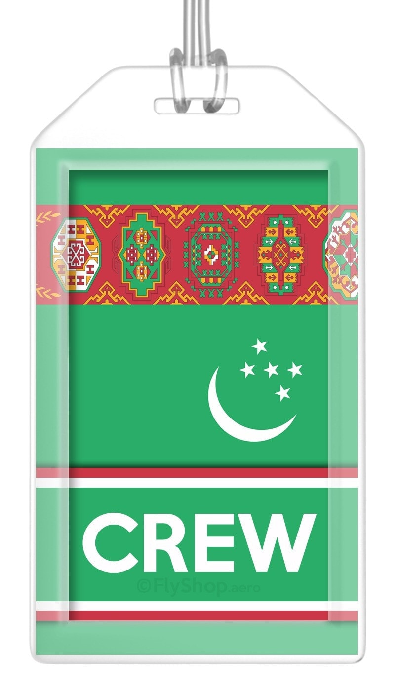 Turkmenistan Flag Crew Bag Tag (Set of 2)