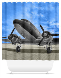 Blue Skies C-47 Shower Curtain