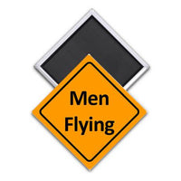 Caution Men Flying Magnet