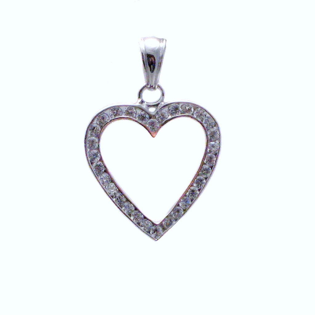 Sterling silver, rhodium plated, channel set heart with round, brilliant cut cubic zirconia pendant.