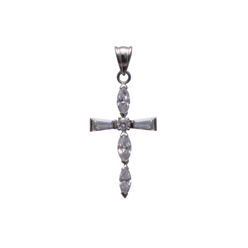 Sterling silver, rhodium plated, cross set with marquise, round, brilliant and tapered baguette cut cubic zirconia pendant.