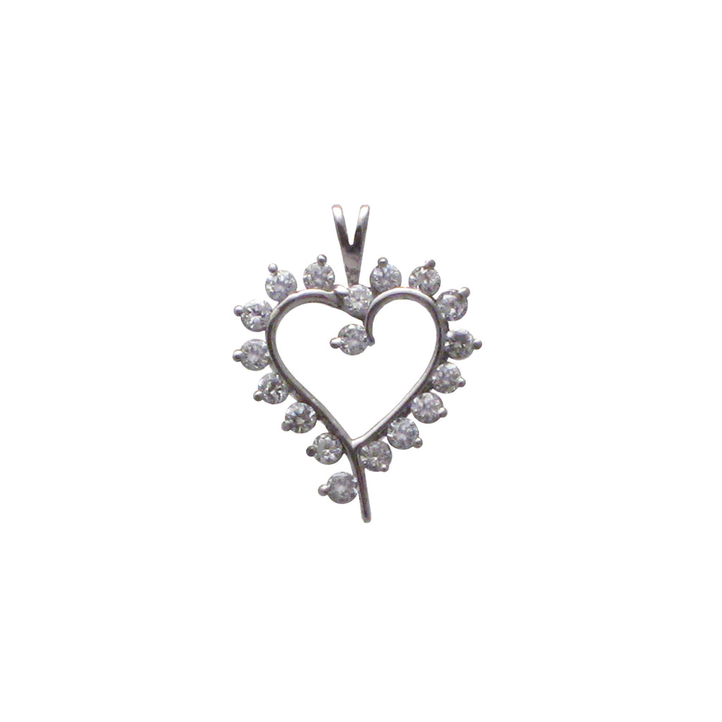 Sterling silver, rhodium plated, sweetheart, claw set, round, brilliant cut, cubic zirconia pendant.