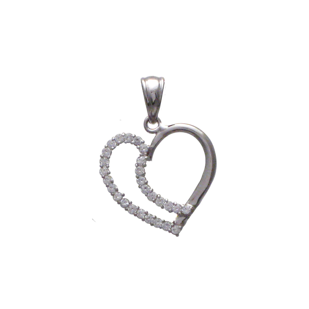 Sterling silver, rhodium plated, heart half pave set, round, brilliant cut, cubic zirconia pendant.