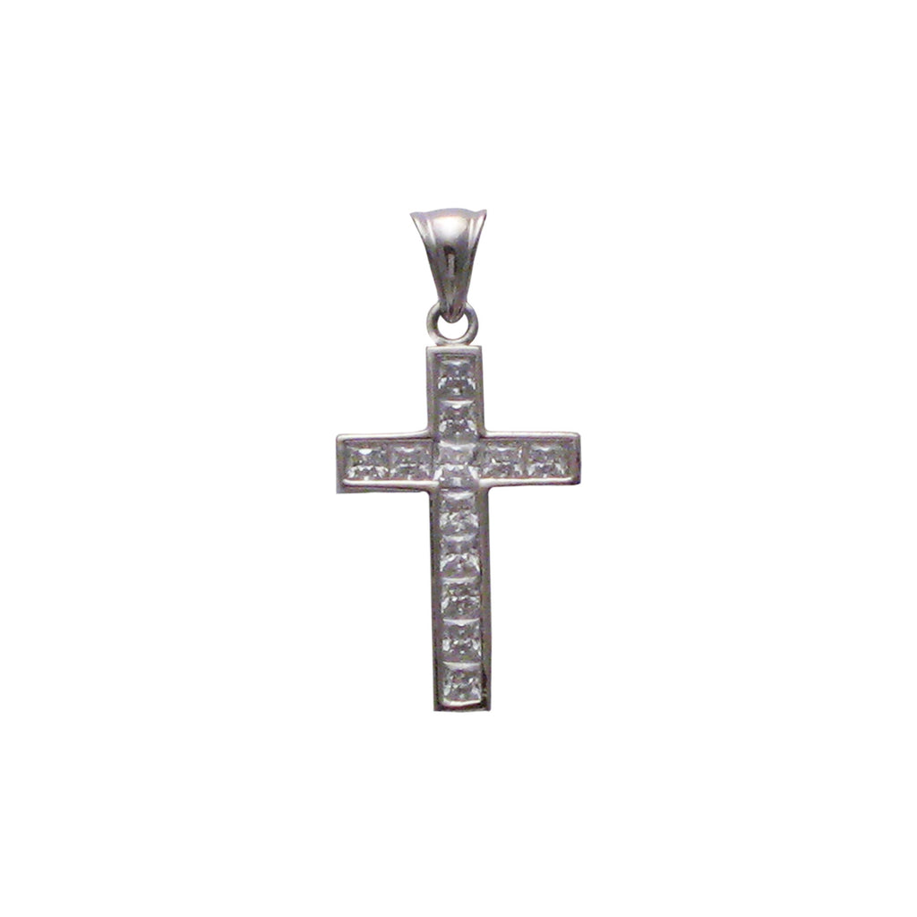 Sterling silver, rhodium plated, cross channel set, square princess cut, cubic zirconia pendant.
