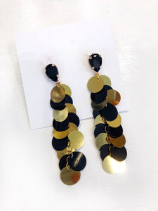 Black and Gold Sequin Earrings