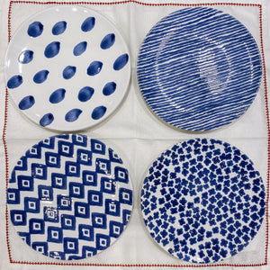 Blue and White Plates - 2 Stripes, 2 Flowers, 2 Diamonds